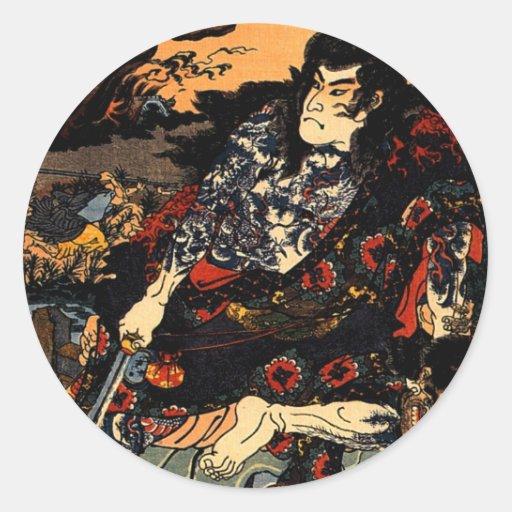 Kuniyoshi Japan  Kyumonryu shinsh Classic Round Sticker