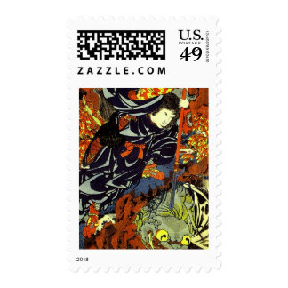 Kuniyoshi Kamigashi Hime stabbing a giant spider Postage Stamp