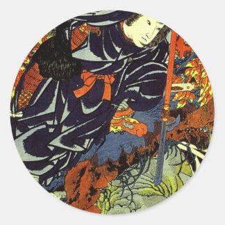 Kuniyoshi Kamigashihime stabbing a giant spider Round Stickers