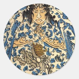 Kuniyoshi Keyamura Rokusuke under the Hikosan Gong Classic Round Sticker