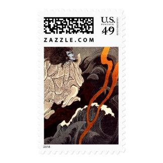 Kuniyoshi Sotoku invoking a thunder storm Postage Stamp