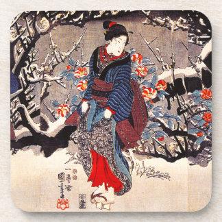 Kuniyoshi Three Women Beverage Coaster