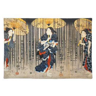 Kuniyoshi Three Women With Umbrellas Placemat