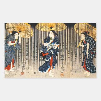 Kuniyoshi Three Women With Umbrellas Stickers