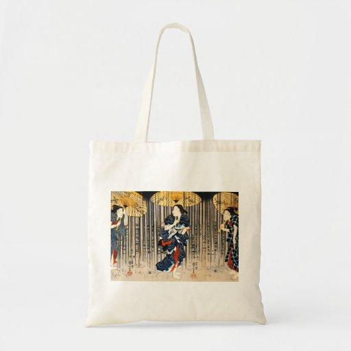 Kuniyoshi tres mujeres con la bolsa de asas de los