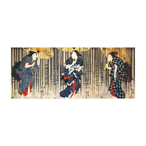 Kuniyoshi tres mujeres con la impresión de la lona lona envuelta para galerias