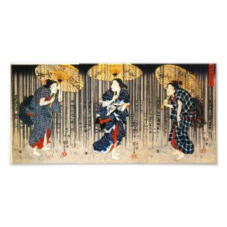 Kuniyoshi tres mujeres con la impresión de los par arte fotografico