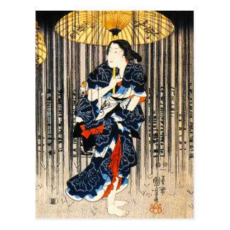 Kuniyoshi tres mujeres con la postal de los paragu