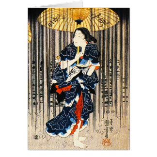 Kuniyoshi tres mujeres con la tarjeta de los parag