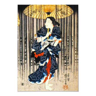 Kuniyoshi tres mujeres con las invitaciones de los invitación 8,9 x 12,7 cm