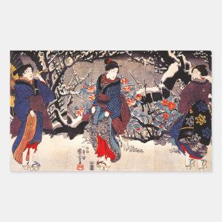 Kuniyoshi tres pegatinas de las mujeres rectangular pegatinas