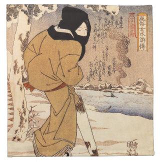Kuniyoshi Woman Walking in the Snow Napkins