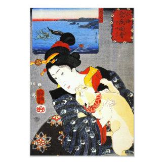 Kuniyoshi Woman with a Cat Invitations