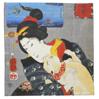 Kuniyoshi Woman with a Cat Napkins