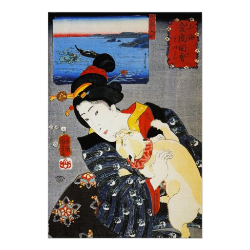 Kuniyoshi Woman with a Cat Poster