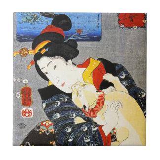 Kuniyoshi Woman with a Cat Tile