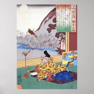 Kuniyoshi's Kakinomoto no Hitomaro Poet Ukiyo-e Poster