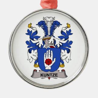 Kuntze Family Crest Round Metal Christmas Ornament
