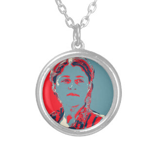 Kurdish Female YPG Fighter art 2 Silver Plated Necklace