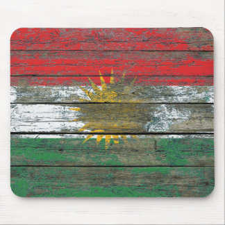 Kurdish Flag on Rough Wood Boards Effect Mouse Pad