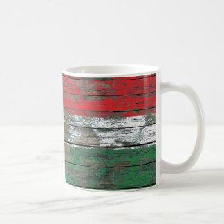 Kurdish Flag on Rough Wood Boards Effect Classic White Coffee Mug