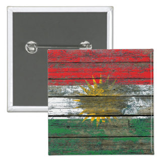 Kurdish Flag on Rough Wood Boards Effect Pinback Button