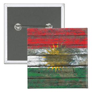 Kurdish Flag on Rough Wood Boards Effect Pinback Button