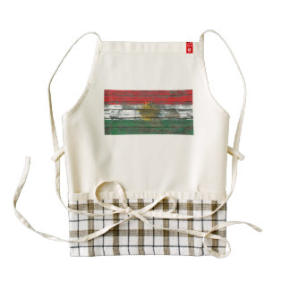 Kurdish Flag on Rough Wood Boards Effect Zazzle HEART Apron