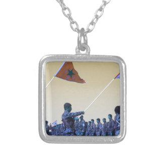 Kurdish YPG - YPJ Figters of Rojava Kurdistan 3.jp Silver Plated Necklace