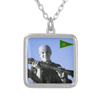 Kurdish YPJ Fighter 4 art Silver Plated Necklace