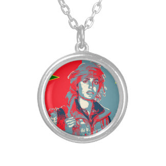 Kurdish YPJ Fighter art 2 Silver Plated Necklace