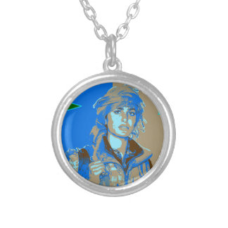 Kurdish YPJ Fighter art 3 Silver Plated Necklace