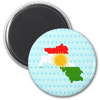 Kurdistan Flag Map full size 2 Inch Round Magnet