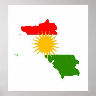Kurdistan Flag Map full size Poster