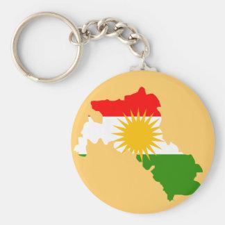 Kurdistan flag map basic round button keychain