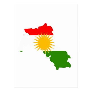 Kurdistan flag map postcard