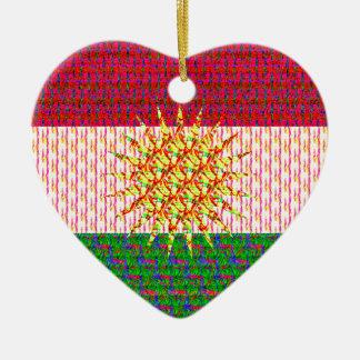 Kurdistan Flag Psychedelic Ceramic Ornament
