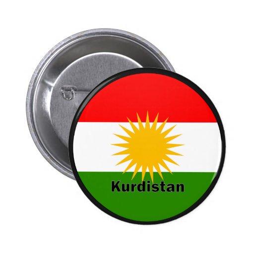 Kurdistan Roundel quality Flag Buttons