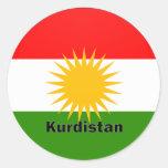 Kurdistan Roundel quality Flag Classic Round Sticker