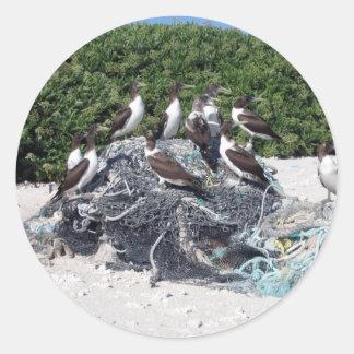 Kure Atoll Beach Debris Classic Round Sticker