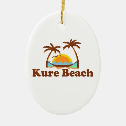Kure Beach. Double-Sided Oval Ceramic Christmas Ornament