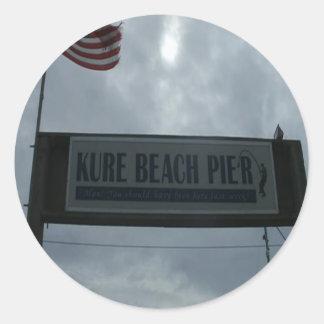 Kure Pier Entrance Sign Classic Round Sticker