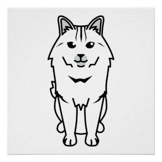 Kurilian Bobtail Cat Cartoon Poster