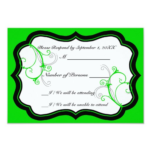 Kurli-Q Ivory B (Lime) RSVP Card Custom Announcements