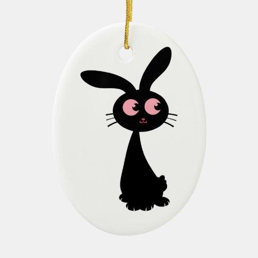 Kuro Bunny I Double-Sided Oval Ceramic Christmas Ornament
