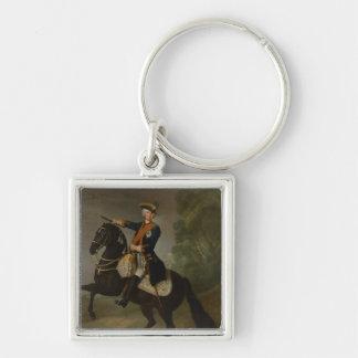 Kurt Christoph Graf von Schwerin on horseback Silver-Colored Square Keychain