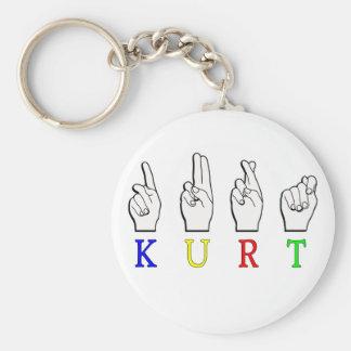 KURT FINGERSPELLED ASL NAME SIGN BASIC ROUND BUTTON KEYCHAIN