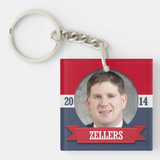 KURT ZELLERS CAMPAIGN Double-Sided SQUARE ACRYLIC KEYCHAIN