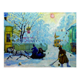 Kustodiev - Frosty Morning Postcard