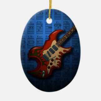KuuMa Guitar 01 (B) Double-Sided Oval Ceramic Christmas Ornament